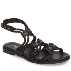 Yosi Samra Marina Rope Sandal In Black Leather